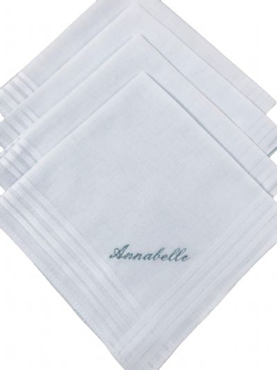 Ladies Personalised cotton handkerchiefs x 4
